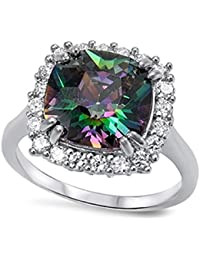 LARGE Italian .925 Sterling Silver FIRE Simulated Rainbow Topaz Mystic ROUND CUSHION & CLEAR CZ Ring 5-10