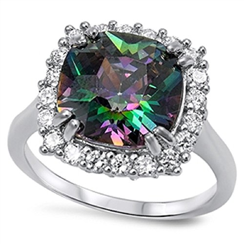 LARGE Italian .925 Sterling Silver FIRE Simulated Rainbow Topaz Mystic ROUND CUSHION CLEAR CZ Ring 5-10 7