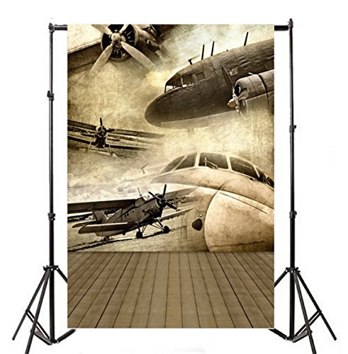 Yeele 5x7ft Vintage Aircraft Photo Backdrops Retro Biplane Aeroplane War Veteran Photography Background World War II Wood Floor Photo Booth Nostalgic Airplane Soldier Video Shoot Wallpaper - War Wood