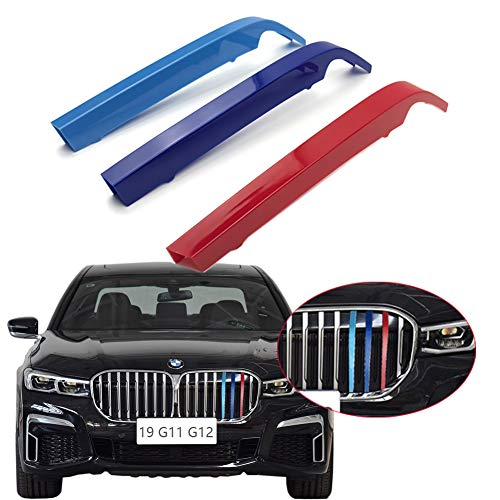 lanyun for BMW G11 G12 Grill Stripes Insert Trims M Colors Decorate for 2019-2020 7-Series Sedan's Kidney Larger Grille 8-Beam