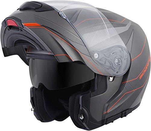 (ScorpionExo EXO-GT3000 Sync Full Face Modular Helmet (Grey/Orange, Large))
