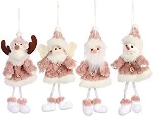 TX 4Pcs Christmas Tree Hanging, Plush Ornaments for Christmas Tree Handmade Santa Clause Snowman Elk Angel Doll Hanging Decoration Gift for Xmas Home Decorations Holiday Decor