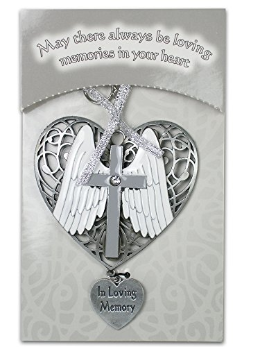 - BANBERRY DESIGNS In Loving Memory Ornament - Angel Wings and Cross on Filigree Heart - Memorial Christmas Ornament - Remembrance Ornament