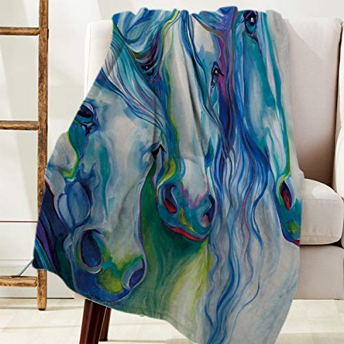 Advancey Flannel Fleece Throw Blanket Thick Cozy Bed Sofa Blankets Super Soft Fabric Ink Painting Style Colorful Horse 49x59 inch