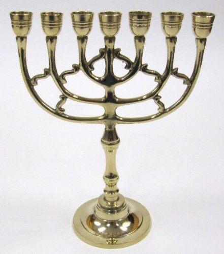 10 1/2 Brass Menorah Judaic Hanukkah Chanukkiyah - Temple or Home ITDC BR22222S