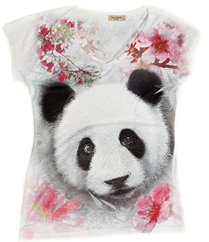 Cherry Blossom Panda V-Neck Tee | T-Shirt with Rhinestones for Women | Size M