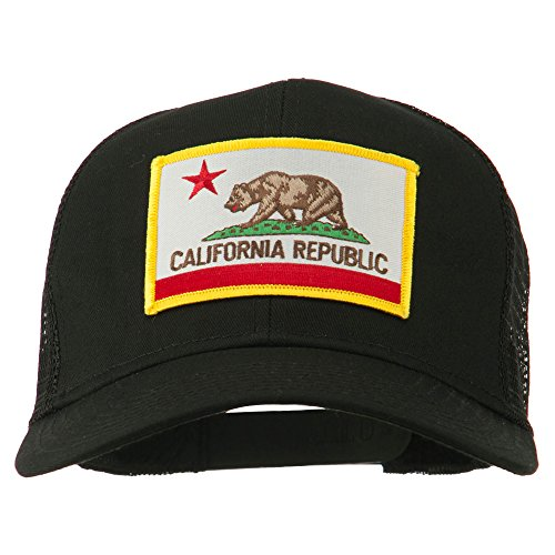 e4Hats.com California State Flag Patched Twill Mesh Cap - Black OSFM (Hat Flag California)