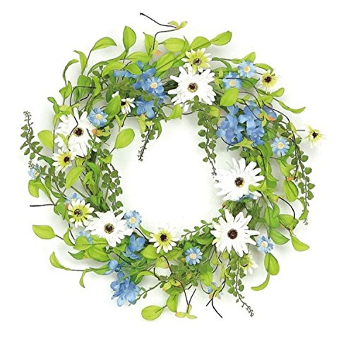"Select Artificials Decorative Hydrangea and Wild Daisy Artificial Floral Wreath Unlit, 22"", Blue/White"