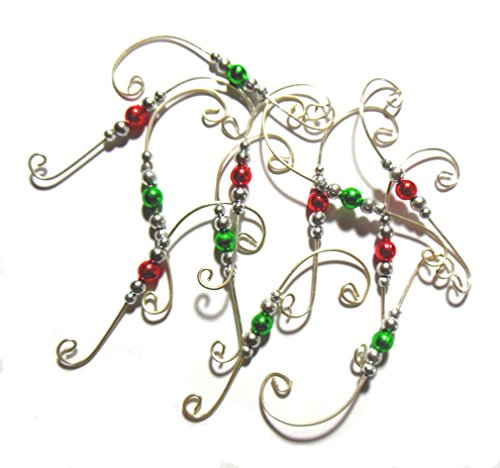 Beaded Ornament Hangers Decorative Holiday Swirl Wire Set of 24 Hooks (Silver)