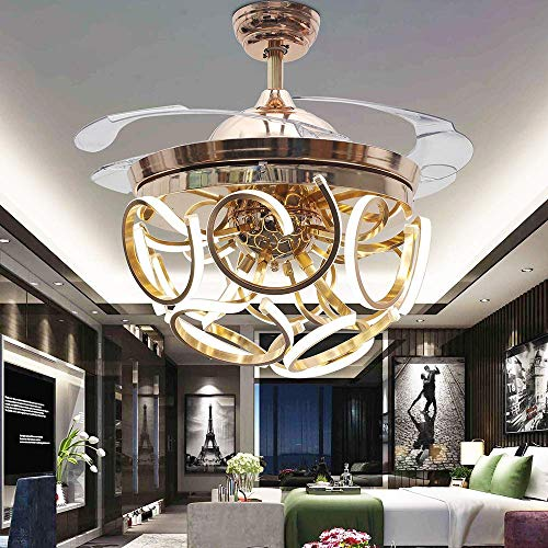 RS Lighting Beautiful Art Round Acrylic Lamp Belt Chandelier Invisible Ceiling Fan-42 inch Remote 4 Pieces of Transparent Leaves 36W LED Indoor Fan Light Kit for Living Dining Room Bedroom (Gold-04)
