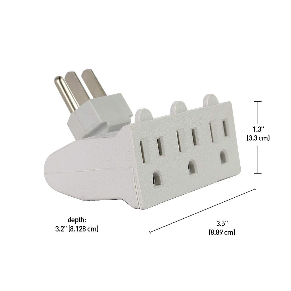 Globe Electric 3-Outlet Grounded Wall Tap Finish 78265 Cube White
