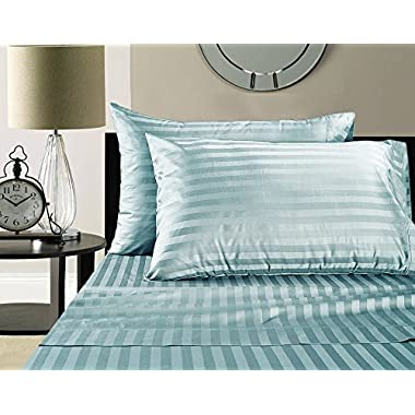 Luxury 100% Egyptian Cotton 500 Thread Count Damask Stripe Sheet Set (Queen, Sky Blue)