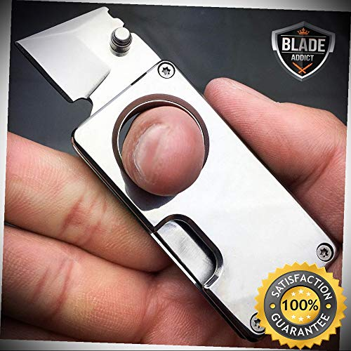 (SILVER EDC FOLDING STUB KNIFE MINI SELF DEFENSE POCKET KNIFE BLADE with KEYCHAIN - Outdoor For Camping Hunting)