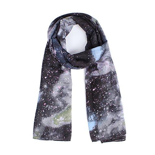 (Lightweight Scarfs for Women Nebula Galaxy little Twinkle Stars Print Fashion Scarf Black)