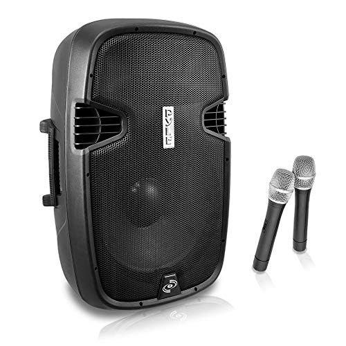 "Portable PA Bluetooth Speaker System - 1000W Active Powered Home Outdoor Speaker w/ 12"" Subwoofer 1.3"" Tweeter, Rechargeable Battery, Wheels, USB SD, 2 Wireless Microphone, Remote - Pyle PPHP129WMU.5"