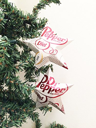 Diet Dr. Pepper Soda Can Stars, Recycled Aluminum Pop Can Stars, Upcycled Christmas - Ornaments Can Aluminum