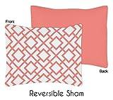 Sweet Jojo Designs Standard Pillow Sham for Modern White and Coral Diamond Geometric Girls Bedding Sets