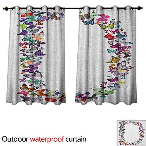 Letter D Outdoor Curtain for Patio Magical Creatures Flying Monarch Butterflies Fragility Grace Artistic Collection W72 x L72(183cm x 183cm)