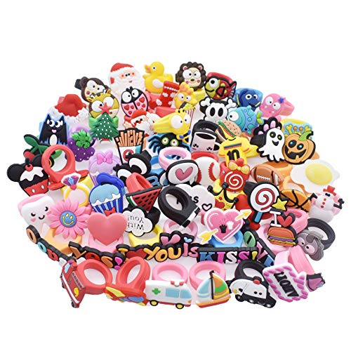 XHAOYEAHX 70pcs Different Shape Children Sized Kids Rubber Rings Birthday Party Supplies Favor Gifts - Girls Pinata Toys - Christmas Holiday Stocking -