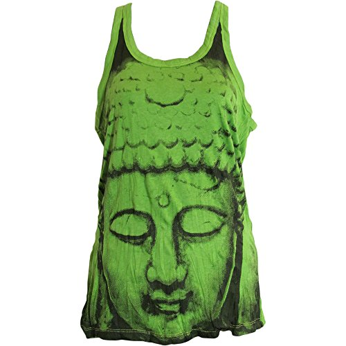 Sure Hippie Yoga Buddha Crinkled Cotton Tunic Tank Top Blouse No89 Green ()