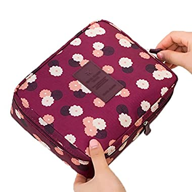 Jiaruo multi-function travel cosmetic bag waterproof Makeup bags (floral burgundy)