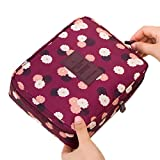 Jiaruo multi-function travel cosmetic bag waterproof Makeup bags (floral burgundy)