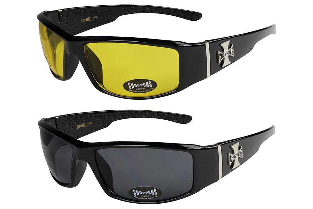 X-CRUZE® 2er Pack Locs 9078 X 05 Sonnenbrillen Unisex Herren Damen Männer Frauen Brille - 1x Modell 04 (schwarz glänzend/HD, braun getönt) und 1x Modell 05 (weiß glänzend/schwarz getönt)