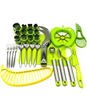 Vegetable Fruit Cutter Shapes Carving Tools Set - 29 pieces - 12 Cute Mini Cookie Cutting Stamps Moulds Flower Heart Star, Melon Baller, Watermelon Cutter, Apple Slicer – Create Fun Food Decoration for Kids Parties - By Australian Business LyfeFx