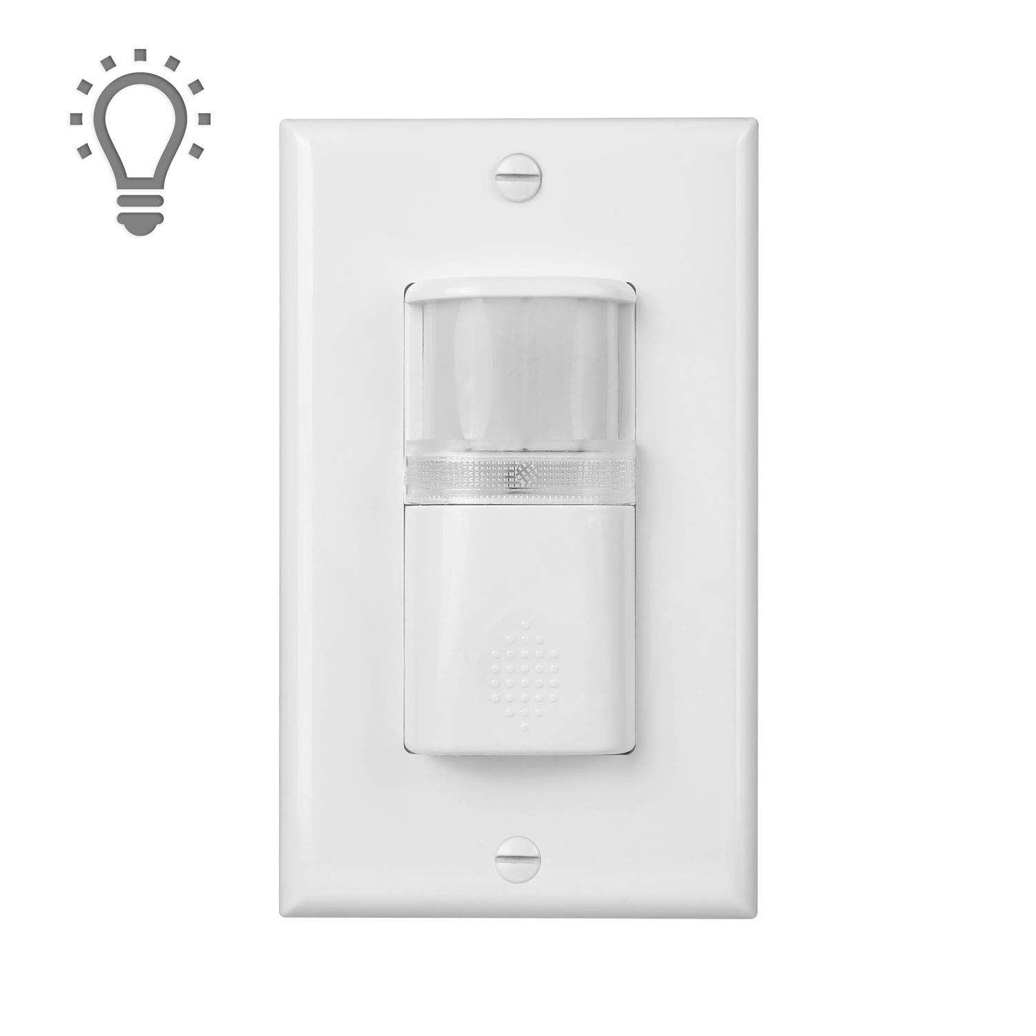 (Pack of 1) White Motion Sensor Light Switch with Built in Night Light – NEUTRAL Wire Required – Single Pole – For Indoor Use – Vacancy & Occupancy Modes – Title 24, UL Certified – Adjustable Timer Dependable Direct