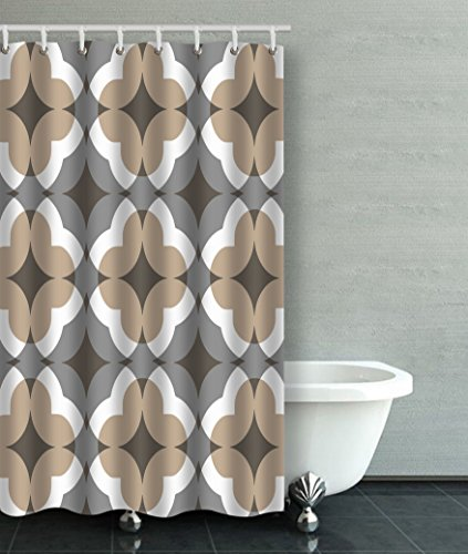 Accrocn Waterproof Shower Curtain Curtains Fabric Tan And Gray Floral Clover Pattern 36x72 Inches Decorative Bathroom Odorless Eco Friendly Anti Bacterial