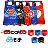 Ecparty Superheros Cape and Mask Costumes Set Includes BONUS Matching Wristbands For Kids