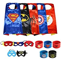 Ecparty Superheros Cape and Mask Costumes Set Matching Wristbands For Kids (5 Pack)