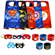 Ecparty Superheros Cape and Mask Costumes Set Matching Wristbands For Kids (5 Sets)