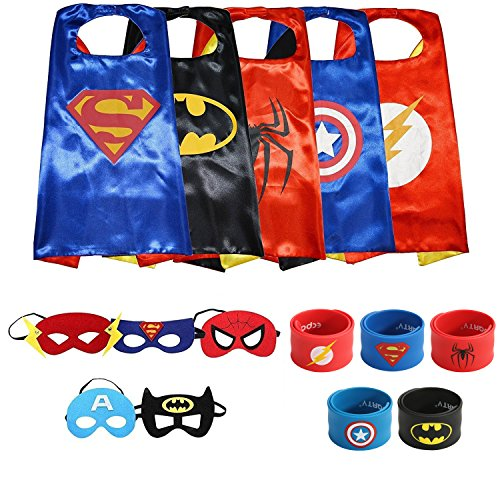 Ecparty Superheros Cape and Mask Costumes Set Matching Wristbands For Kids (5 Sets) - Cap Costumes Set