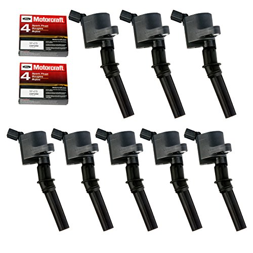 Ignition Coil DG508 & Motorcraft Spark Plug SP479 for Ford 4.6L 5.4L V8 CROWN VICTORIA EXPEDITION F-150 F-250 MUSTANG LINCOLN MERCURY EXPLORER DG508 DG457 DG472 DG491 F523 DG508 (Set of 8 BLACK)