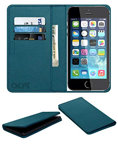 Acm Rich Leather Flip Cover Wallet Flap Cover Case Compatible with Apple iPhone 5s Mobile Flap Magnetic Cover Turquosie