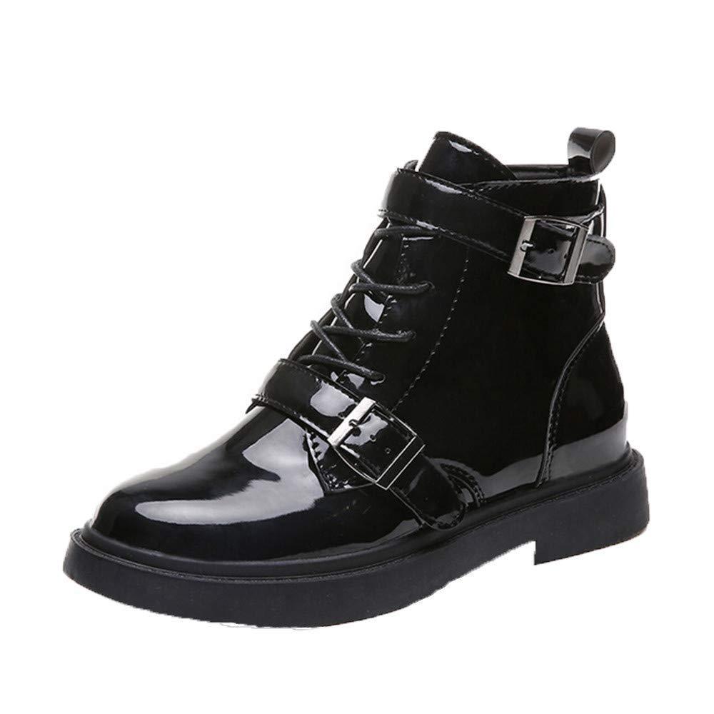 ZHRUI Stiefel Damen Schuhe Stiefeletten Mode Frauen Cross Tied Schuhe Schnallenriemen Anti Rutsch Mittel Heel Martin Stiefeletten (Farbe   Schwarz Größe   36 EU)