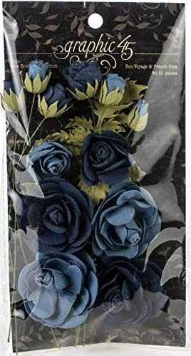 Graphic 45 4501788 Rose Bouquet Collection-Bon Voyage & French Blue Paper Flowers, Multi ()