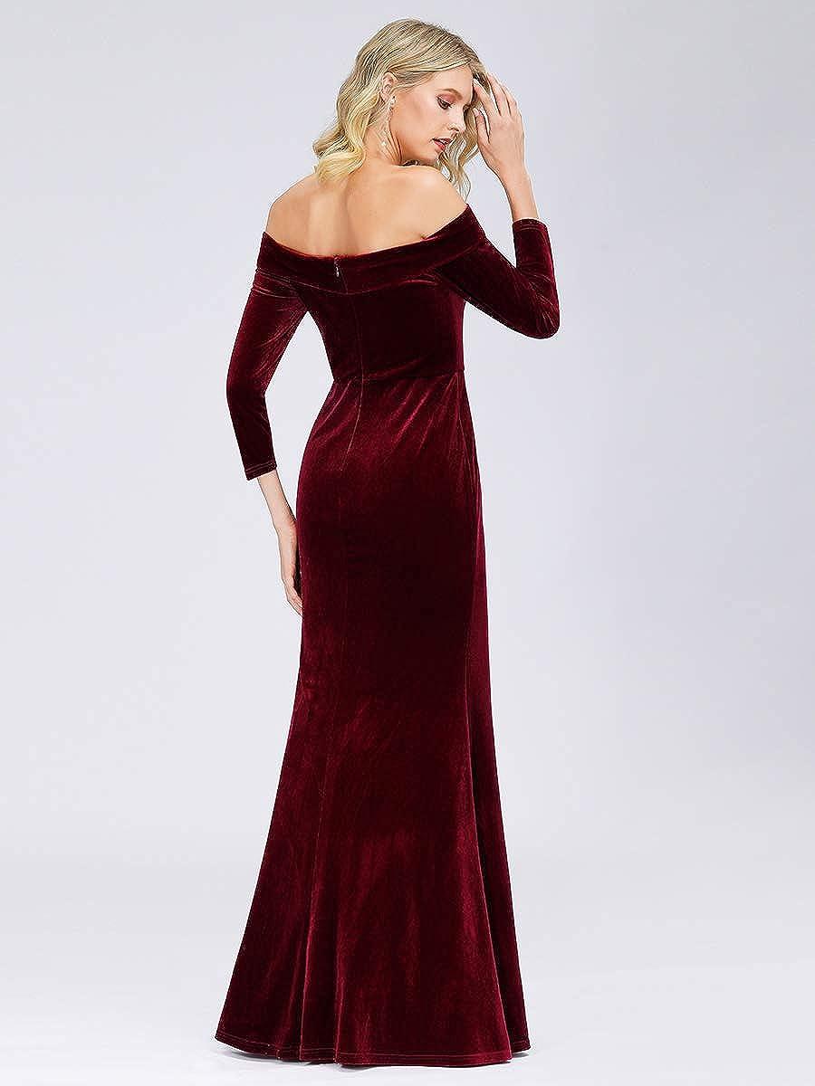 Ever-Pretty Linea ad a Vestito da Festa Donna Damigella dOnore Velluto dalla Spalla Manica Lunga Lungo 00880