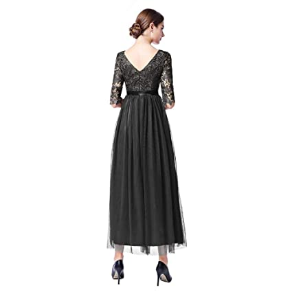 34d87699af122 Womens Vintage Lace Bridesmaid Long Dresses Prom Evening Cocktail 3/4  Sleeves Tulle Floral Retro Maxi Gowns