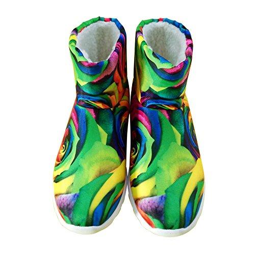 Voor U Ontwerpt Mode Bloemenstijl Vrouwen Warme Winter Platte Snowboots Waterdicht