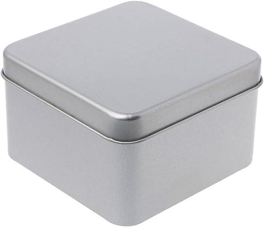 JERKKY Caja de Almacenamiento 1 Pieza 9 * 9 cm Organizador de Caja de Caja de Almacenamiento de Plata metálica pequeña de estaño para Llave de Caramelo de Moneda de Dinero: Amazon.es: Hogar