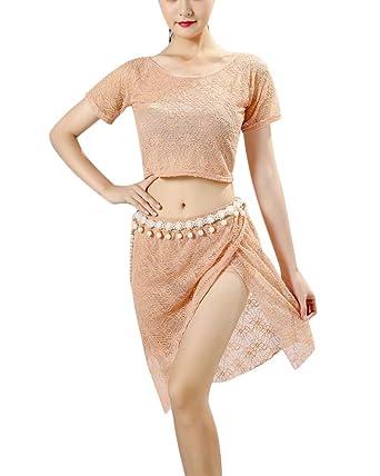 QitunC Mujer Conjunto De Baile Top Falda Asimetrica Mailot De ...