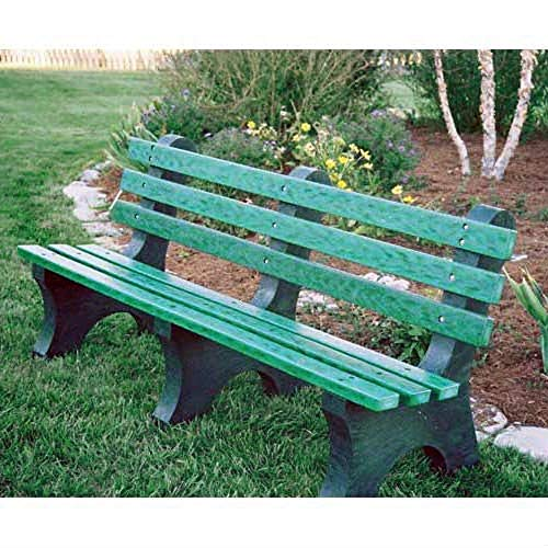 CHOOSEandBUY Green Commercial Quality Outdoor Garden Eco-Friendly Plastic 4-Ft Park Bench New Perfect Beautiful Classic Elegant Useful ()
