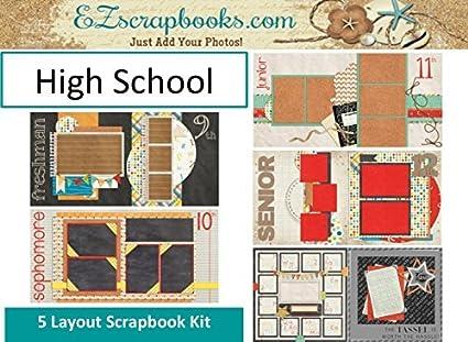 Amazon High School Scrapbook Set 5 Double Page Layouts
