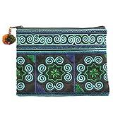 Sabai Jai Handmade Cosmetic Makeup Pen Coin Pouch Embroidered Boho Clutch Handbag Purse (Blue)