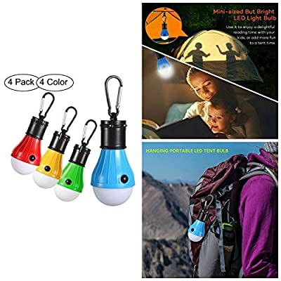 FYS LED Tent Lights 4 Pack Portable Camping Light Lamp Tent Lantern Bulb for Hurricane Emergency Backpacking Hiking Outdoor&Indoor