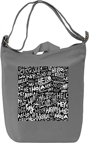 Black and White 'Hello'Print Borsa Giornaliera Canvas Canvas Day Bag| 100% Premium Cotton Canvas| DTG Printing|