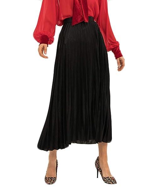 f6916f8f3 JURUAA Womens Fashion High Waist A Line Pleated Midi Skirt Elastic Waist  Metallic Skirt Black Small