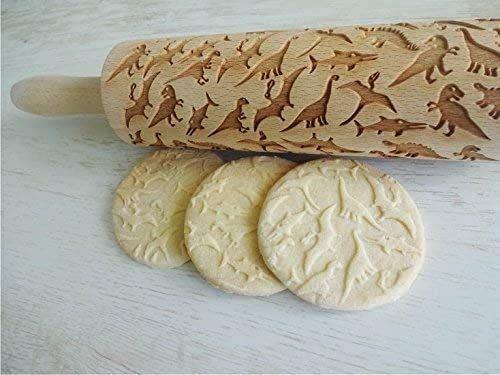 Jurassic Park Dinosaur Embossed Rolling Pin gift for Him Her for Kids Baking Kitchen idea Custom Dino pattern Engraved cookie Baker gift